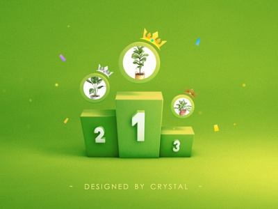 TOP 3 number crown yellow green list ranking icon 3d illustration c4d design ui graphic