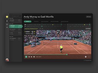 Tennis App UI Refresh dark ui timeline video ux ui app tennis