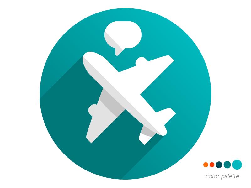 Roaming Messaging App Logo flat airplane message roaming messaging logo app