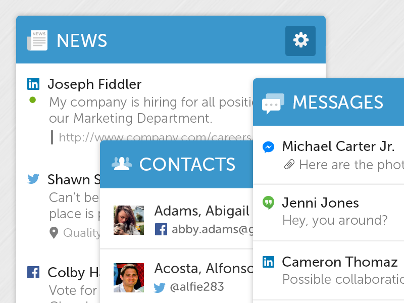 Latest Mashboard Cards attachments messages contacts news icons cards mashboard