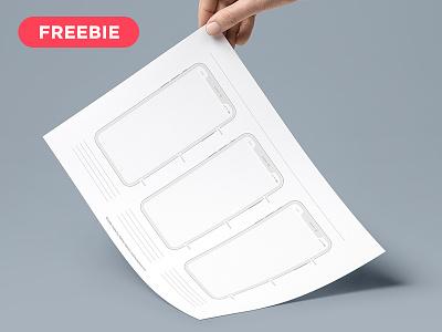 Free Printable iPhone X Templates prototyping grid freebie printable templates free iphone template iphone x templates iphone x template templates iphone x printable free
