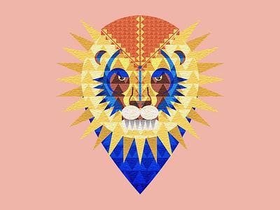 Geometric Lion poster illustration shapes illustrator lion animal geometric