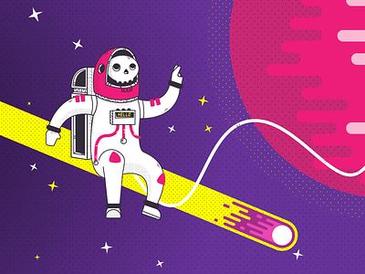 Skeleton Astronaut half tone geometric illustration rocket planet meteor space astronaut skeleton