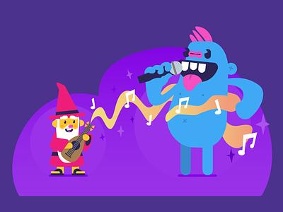 Bard And Monster singing music battle fantasy monster cute cartoon illustrator illustration dd