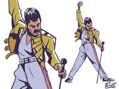 Freddie Mercury Cartoon - Is this the real life? character design music caricature toon cartoon illustration