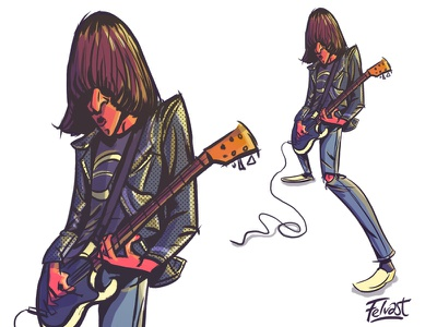 Johnny Ramone rockstar guitar rock color design character drawing caricature cartoon music