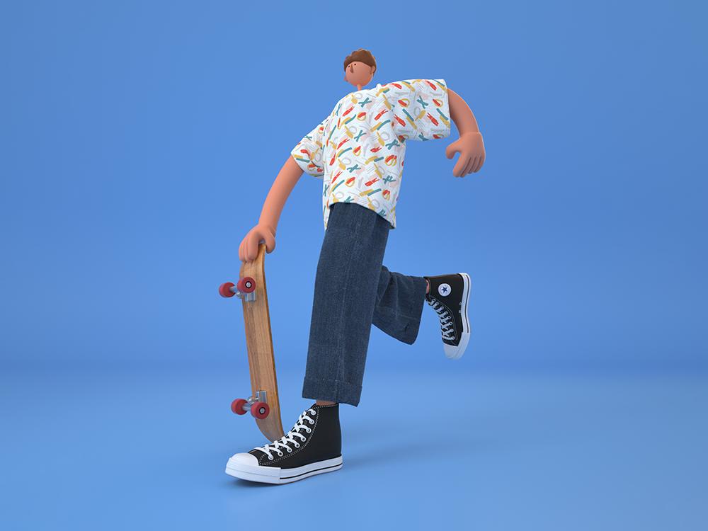 skateboard design octane character creation 角色创造 图标 c4d