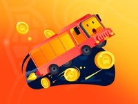 Happy bus with gold coins