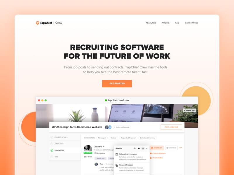 TapChief Crew Landing Page Design flat web design recruit crew talent freelancer productivity ux ui illustraion visual design remote work landing page