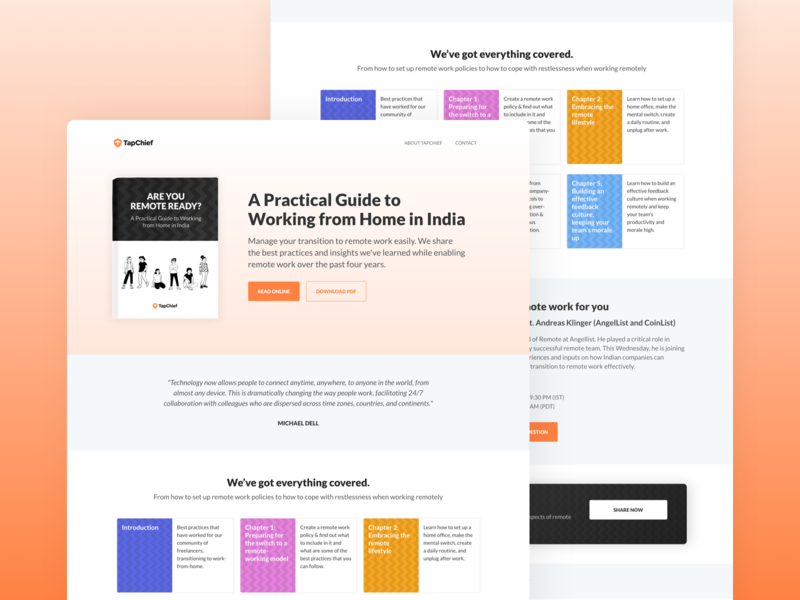 A Practical Guide to Working from Home in India guidebook landing page work from home remote work wfh ux web design ui