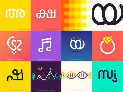30 Days of Malayalam Letters icon css html typogaphy design illustration