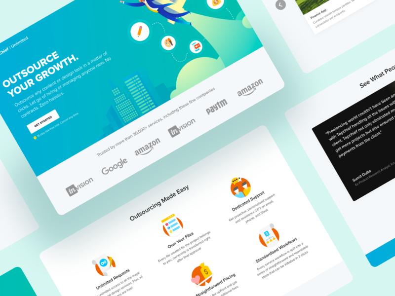 Landing Page Exploration for TapChief Unlimited dailyui dailyuichallenge landing page visual design illustration design remote work web design ux ui