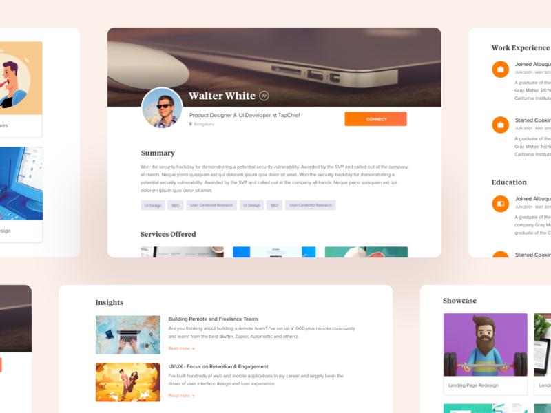 TapChief Profile Redesign web design design dailyui visual design concept remote work redesign profile page profile landing page ux ui