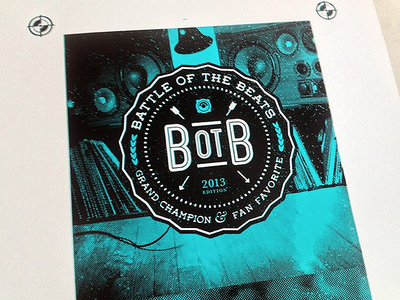 Hand screen-printed cover for Battle of the Beats
