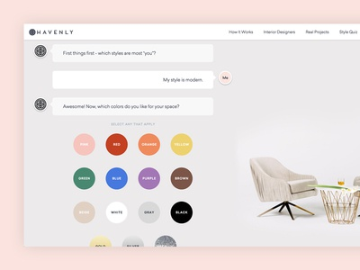 Onboarding for free interior design chat service