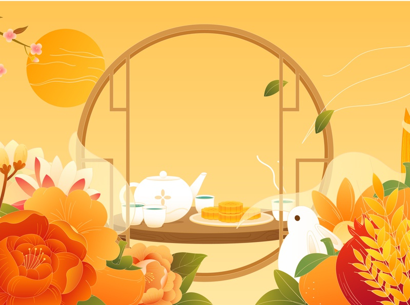 mid-autumn festival中秋节贺图 festival mid-autumn festival flowers 节日 中国风 中秋节 mid-autumn chinese culture art vector illustrations