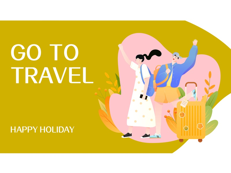 go to travel 假期去旅行!~ banner design cute art design pink vector girl illustration