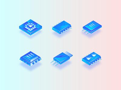 Transistors Set chip transistor set icon gradient cpu