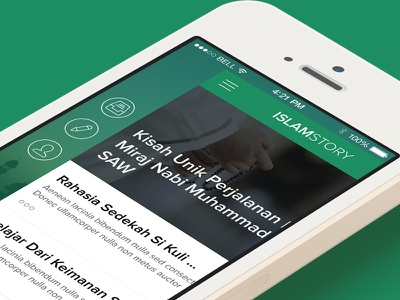 IslamStory - Islamic Story App Sidebar ios iphone mobile news story islam moeslem sidebar green mosque