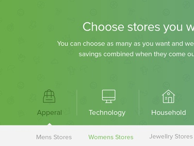 Store Landingpage apperal landingpage store shop select category green commercial coupon menu subcategory