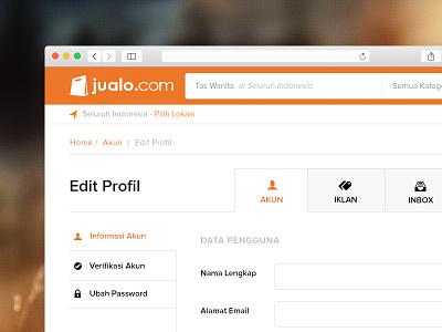 Edit Profile Screen indonesia minimalism simple flat classified ecommerce user dashboard ui jualo