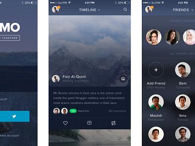Bromo - Free Social Mobile App Template PSD user interface interface freebie psd ios flat apps app social mobile ux ui