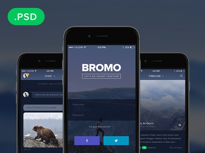 Bromo - Free Social Mobile App Template PSD user interface interface freebie psd ios flat apps app social mobile ux ui