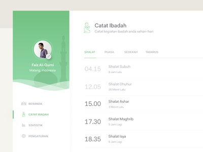 Diaryibadah Catat Shalat list design pray islamic dashboard web app web