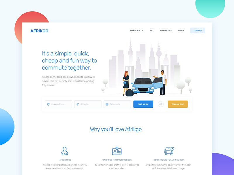 Carpooling Homepage web app design carpool ui ux homepage landingpage website
