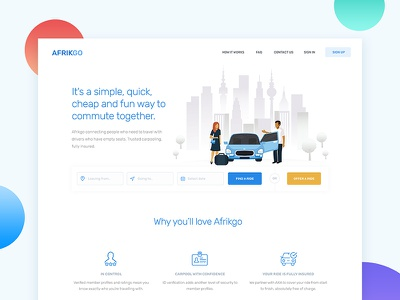 Carpooling Homepage web app design carpool ui ux homepage landingpage website