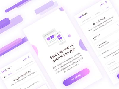 AppChoo Mobile Web cost breadcrumb quiz estimation mobile ux ui minimal design clean app