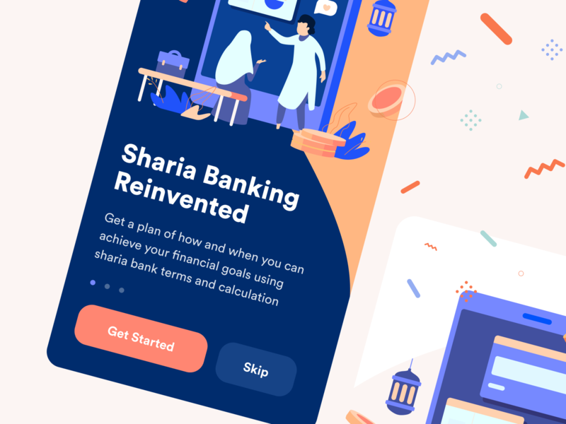 Islamic Finance App Onboarding money walkthrough onboarding islamic finance illustration ecommerce ios flat mobile design app web ux ui
