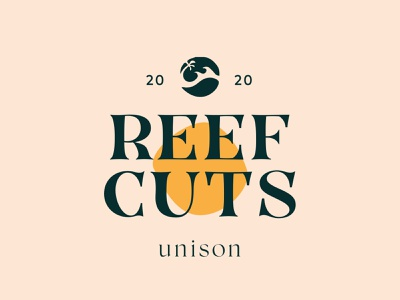Reef Cuts by Unison barber cuts reef yellow colour color minimalist logo clean logo design 2020 surf light organic font logotype logo branding