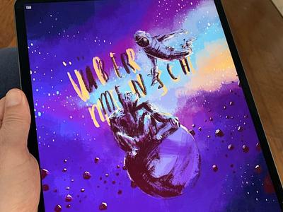 übermench nietzsche procreateapp painting ethereum bitcoin cryptoart illustration ape chimp gorilla astronaut space stars procreate übermench