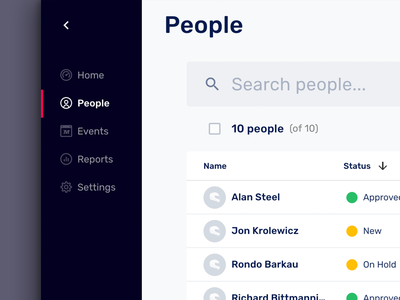 Batch action data table app motorsport material design search list people dashboard admin menu status rows large table data table table ui