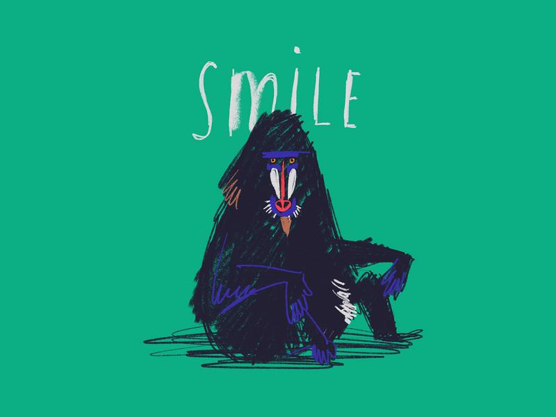 Smile :) free loose quick green gorilla baboon drawing procreateapp procreate smile chimp monkey illustration expressive