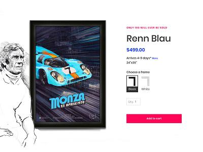 Renn Blau html ux monza 917k porsche quantity frame e-commerce code add to cart ui procreate procreateapp paiting illustration auto racing auto motorsport