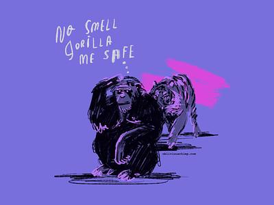 an oblivious chimp purple branding pink sketch drawing apple pencil ipad procreate illustration gorilla tiger chimp obliviouschimp
