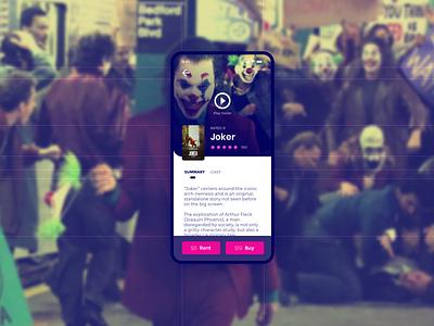 Joker design sketch ux ui movie app watch joker watch live download now download buy the joker joker