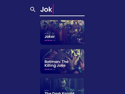 Search: Joker pink concept stars rate card text input search ui app movie the joker batman the killing joke joker