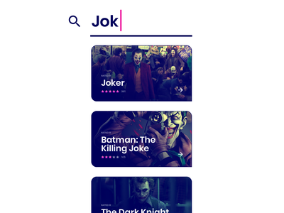 Joker list results ux icon input text search card batman the dark knight download now watch now killing joke dark mode light mode movie concept ui joker