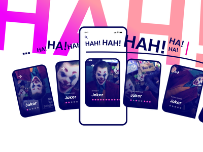 Joker movie stars rating cards card batman gradient pink harmony chaos fun ui search app concept joker