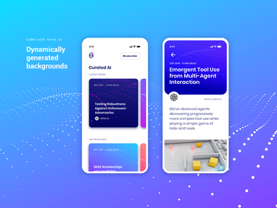 Dynamically generated backgrounds sketch design ux ui card iphone ios13 article blog terrain concept gradient pattern dots openai ios app background generate ai