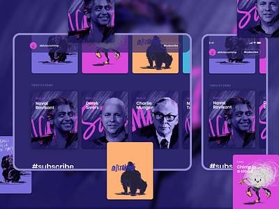 obliviouschimp.com concepts gorilla charlie munger sivers naval ui html procreate illustration card tablet phone ipad ios app writing blog twitter tweet chimp obliviouschimp