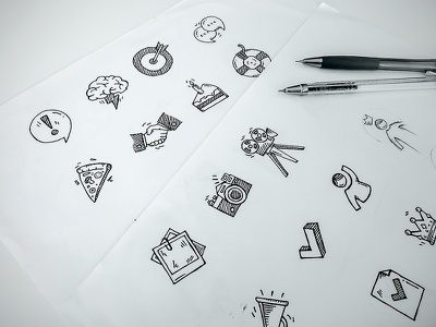 Icons sketch for event application usemo hand made hand drawn icons sketch pencil drawing icon