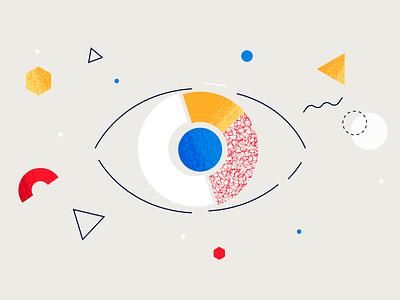 Geometric Eye figures texture graphic stroke shape art geometric abstract design motion cartoon illustration 2d eyes