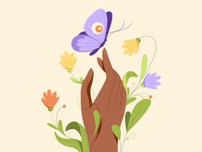 Moth vector graphic design motion flat cartoon character animation illustration hand flowers moth