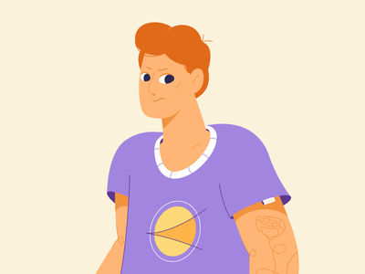 Unhappy cartoon vector graphic people boy dude design motion animation 2d character illustration
