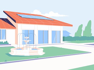 The Fountain dribbble vector design motion flat maevschi animation city illustration village villa building town house