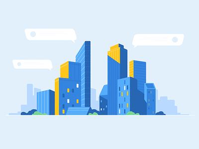 Blue City cartoon blue house building town infographic landscape city vector motion 2d graphic animation illustration